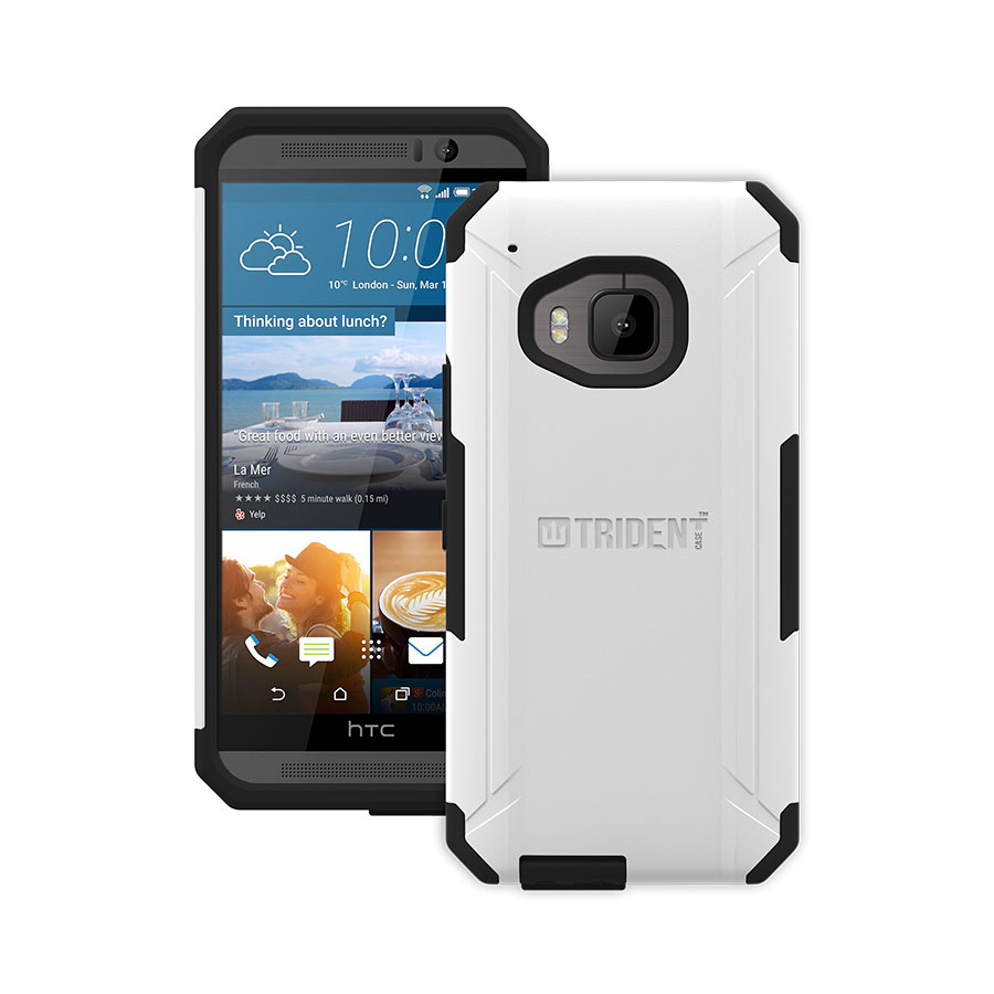 HTC One M9 Case, Trident [White] AEGIS Series Slim & Rugged Hard Case Over Silicone Skin Dual Layer Hybrid Case w/ Screen Protector