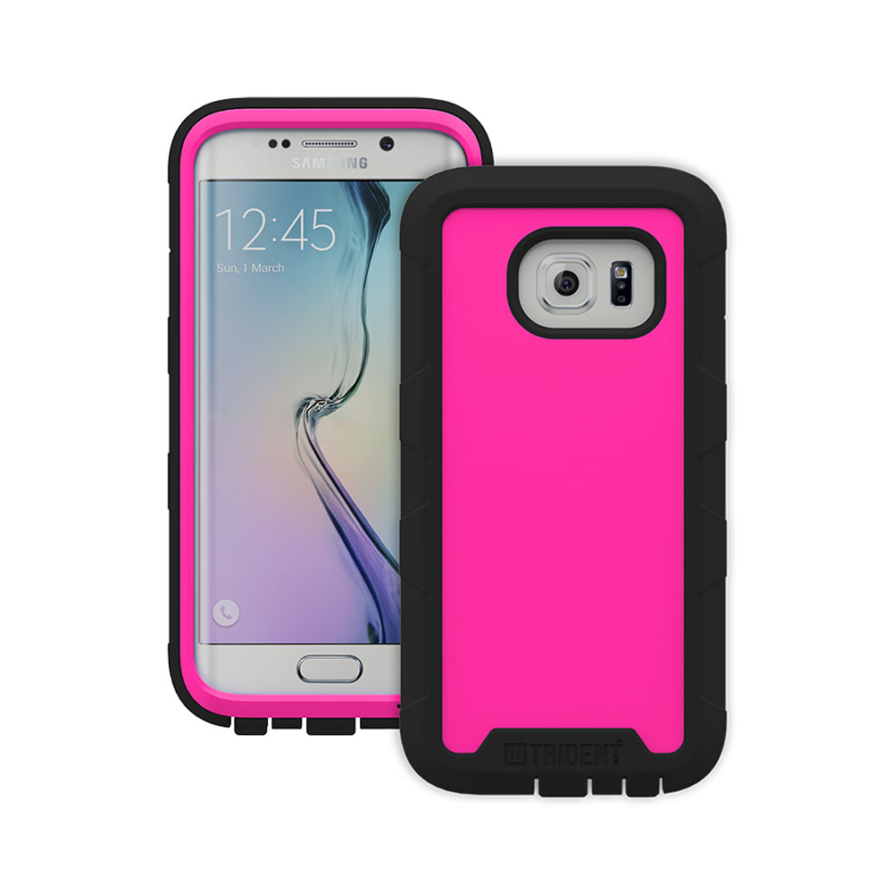 Samsung Galaxy S6 Edge Case, Trident [Hot Pink] CYCLOPS Series Rugged Fused Polycarbonate & Thermo Poly Elastomer Hybrid Case