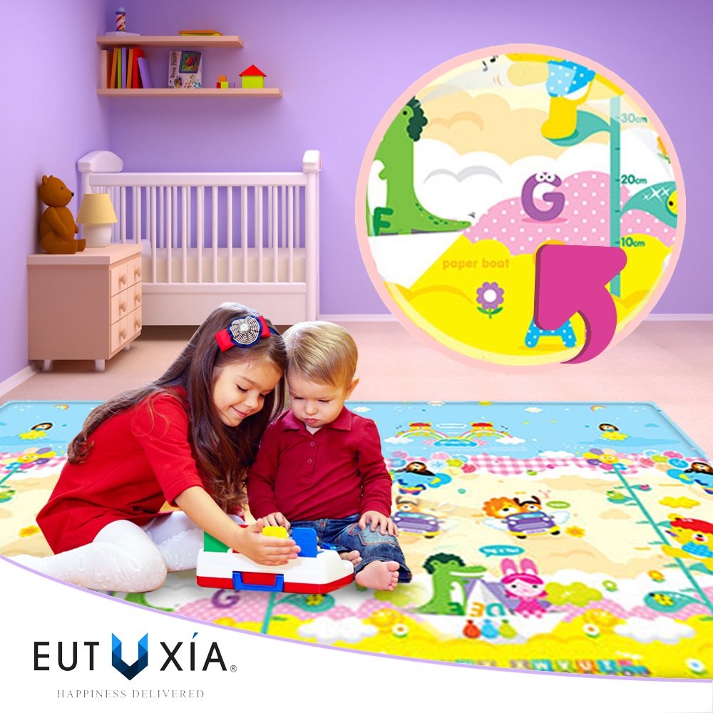 Baby & Kids Safety Play Mat [Mori Story/ Easy as 1-2-3] Great For Baby Crawling, Kids Activity!