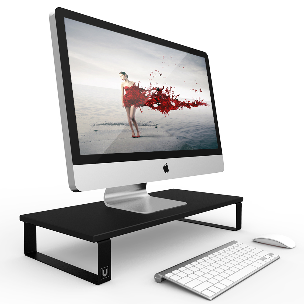 [Classic Design] Elegant Metal Frame Wood Monitor Stand, Eutuxia [Black] [Type W] Elegant Wood with Keyboard Storage Space