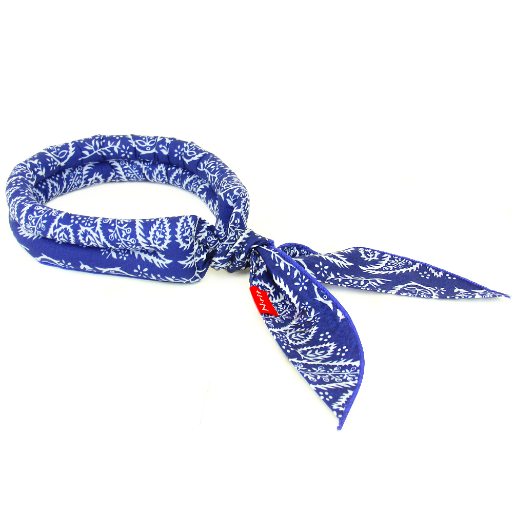 N-Rit Cooling Scarf [Cotton Blue Paisley], Wrap a Soaked Tie Around Neck to Chill Out. Crystal Polymers Keeps Wet and Reusable. Great for Outdoors, Sports, Travel, Exercise.