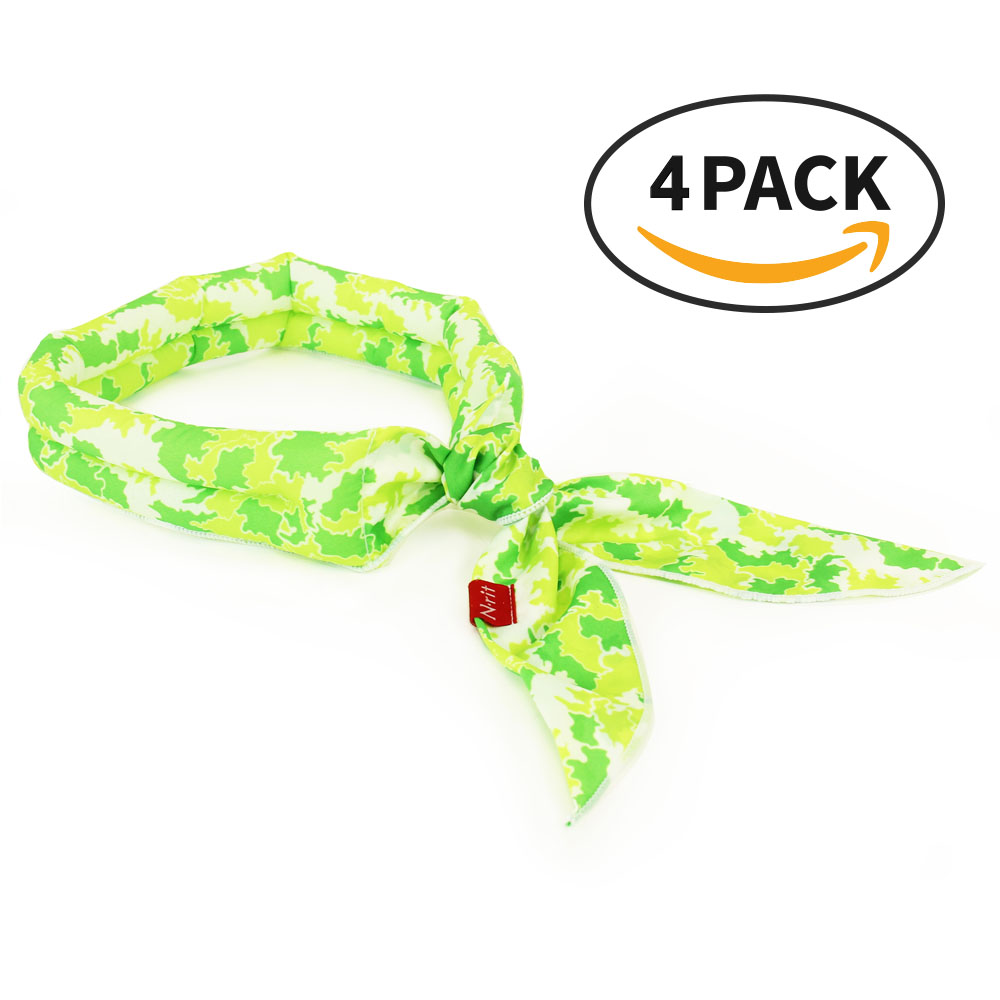 Cooling Scarf Chilling Sports Scarf/Headband/Neck Wrap Crystal Polymer Cooling Technology - Stays COOL for HOURS! Outdoors, Exercise, Running, Hiking, Headaches, Sore Muscles, Hot Flashes) - Reusable [Green] [4 PK]