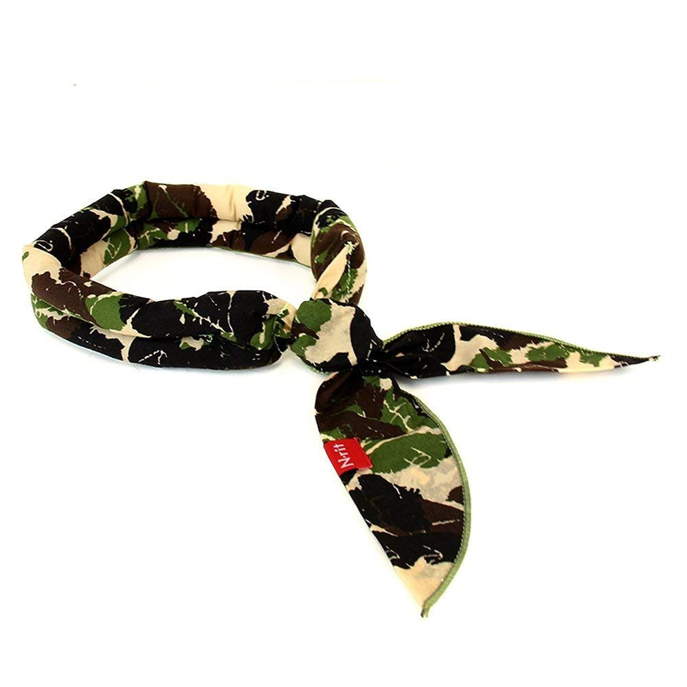 N-Rit Cooling Scarf [Cotton Green Camo], Wrap a Soaked Tie Around Neck to Chill Out. Crystal Polymers Keeps Wet and Reusable. Great for Outdoors, Sports, Travel, Exercise.