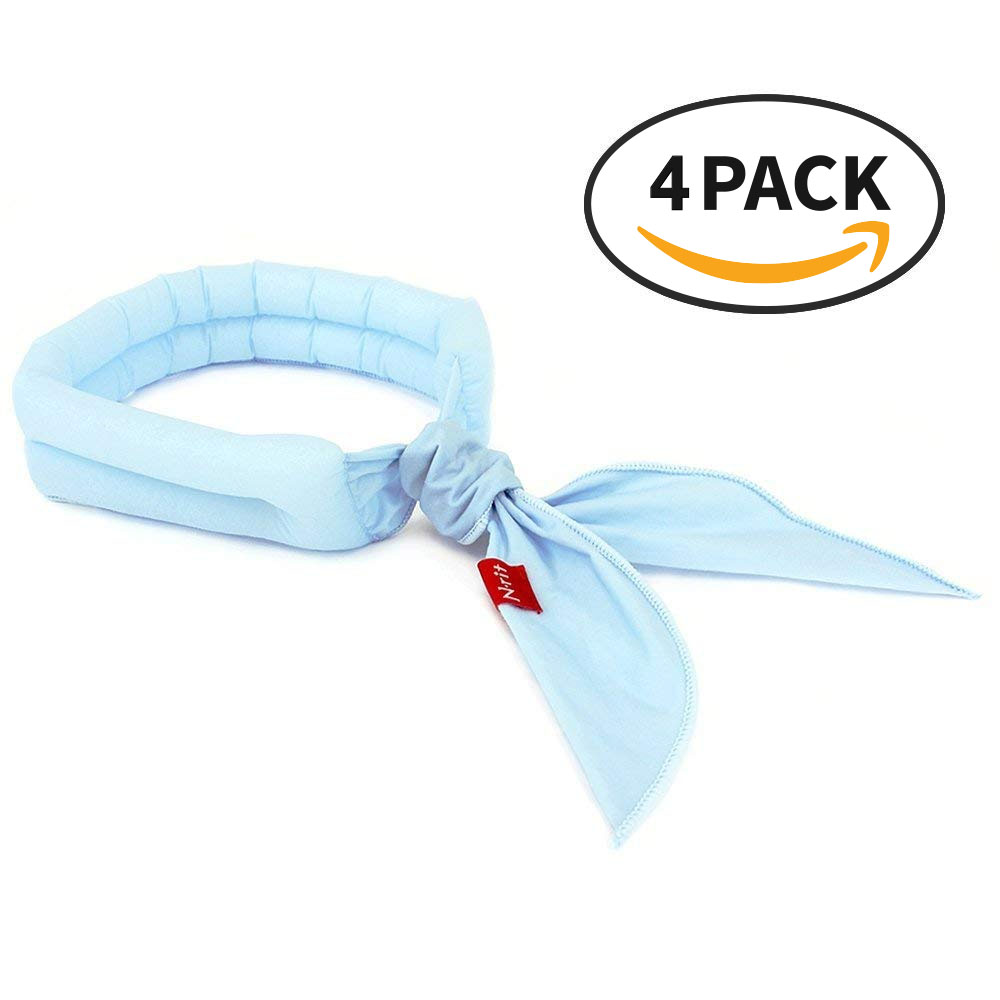 Cooling Scarf Chilling Sports Scarf/Headband/Neck Wrap, Cotton Polar Ice Scarf w/ Crystal Polymer Cooling Technology - Beat the heat with Reusable Ice Bandanna! Reusable [Light Blue] [4 PK]