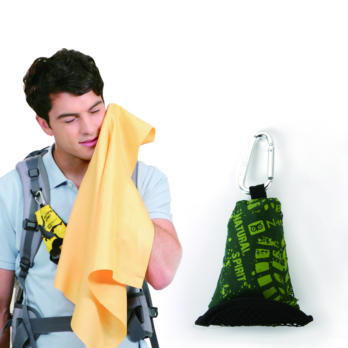 N-Rit [Green] Campack Medium Cleaner 15.7x15.7(40x40cm) Microfiber Cloth - Perfect for Hiking!