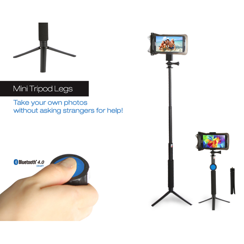 DiCAPac Black Action Extendable Handheld Tripod for Selfies - 1/4 inch Screw Attachment Type