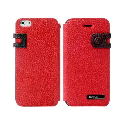 Apple iPhone SE / 5 / 5S  Case, Zenus [Red/ Brown] Masstige Color Edge Leather Diary Case w/ ID Slots