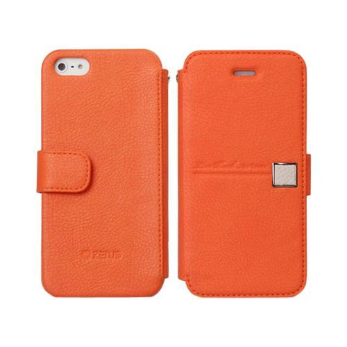 Apple iPhone SE / 5 / 5S  Case, Zenus [Orange/ Beige] Masstige Color Point Leather Diary Case w/ ID Slots
