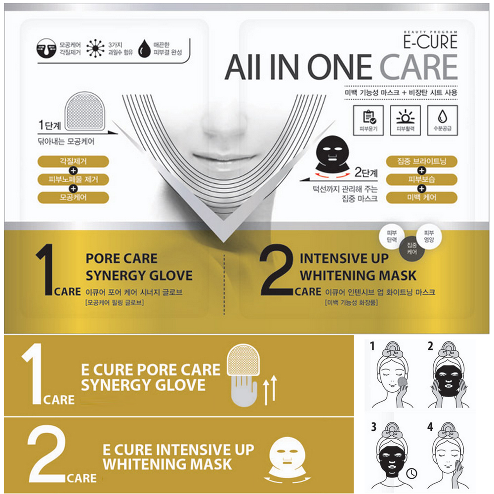 E-CURE All in One Care 2-Piece Intensive Shaping & Whitening Face Mask