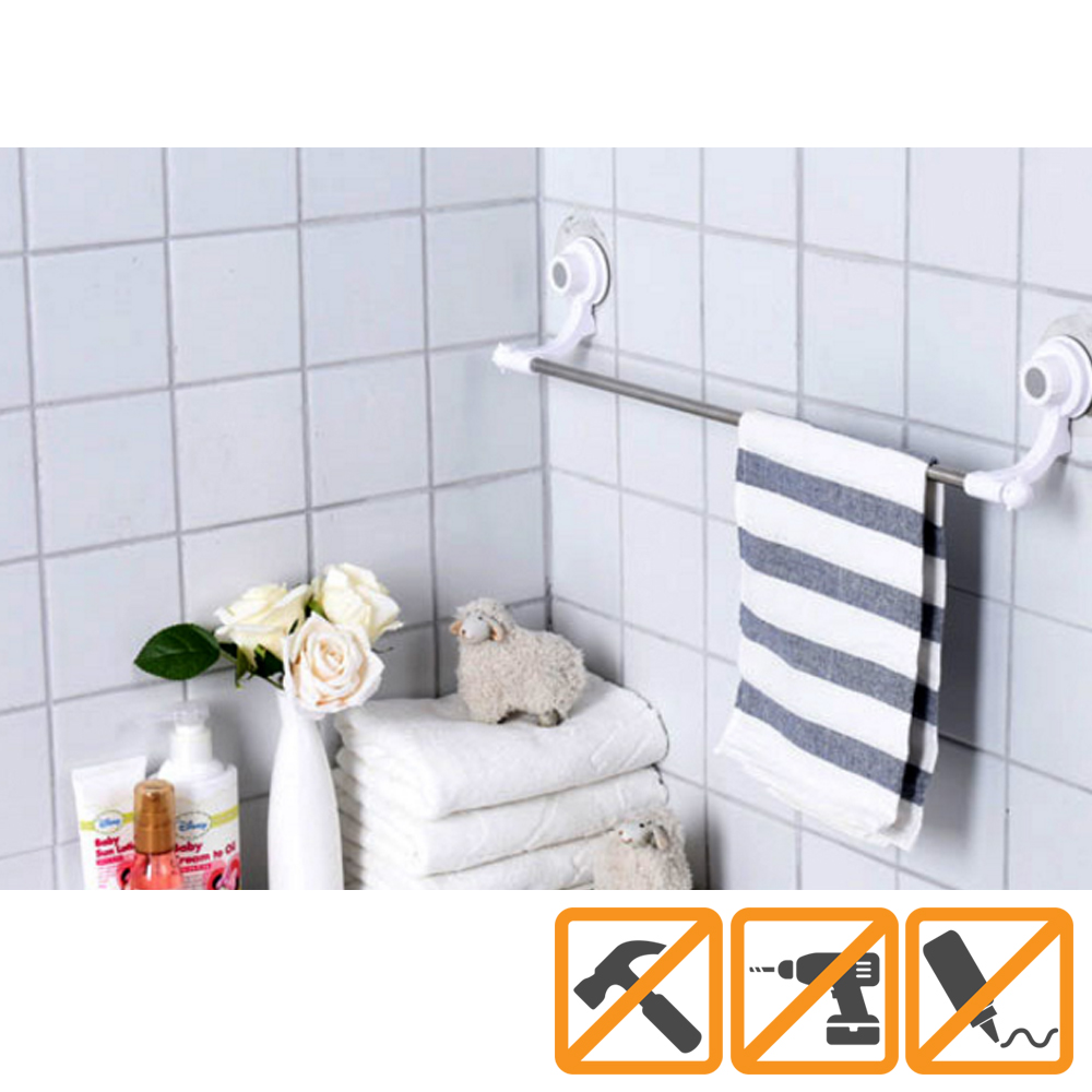 Glaster Towel and Washcloth Mount [Silver/ White]