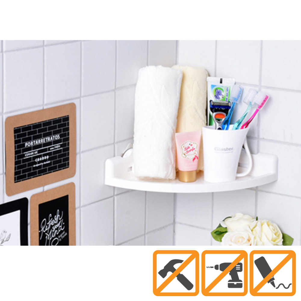 Glaster Shower Caddy Corner Shelf Mount [White] - Holds up to 13 Pounds!