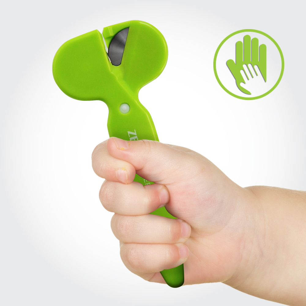 Safety Scissors w/ Rotating Blades [Green]- Great For Children! [Zero-Cutter R2]