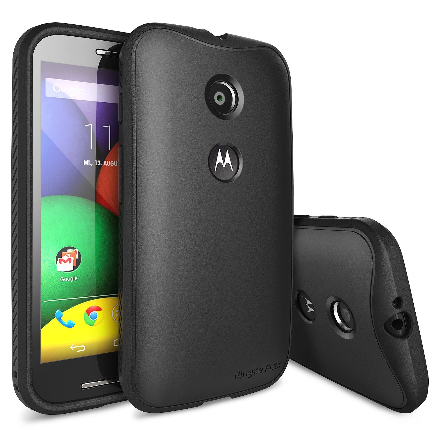 Black Motorola Moto E Ringke Flex Series Premium Flexible Tpu Strong N Soft Case W/ Free Screen Protector - Conforms To Your Phone!