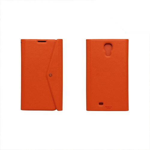 Fenice Orange Clutch Series Premium Italian PU Leather Flip Diary Case w/ Magic Tape, Card Pocket, & Magnetic Closure for Samsung Galaxy S4