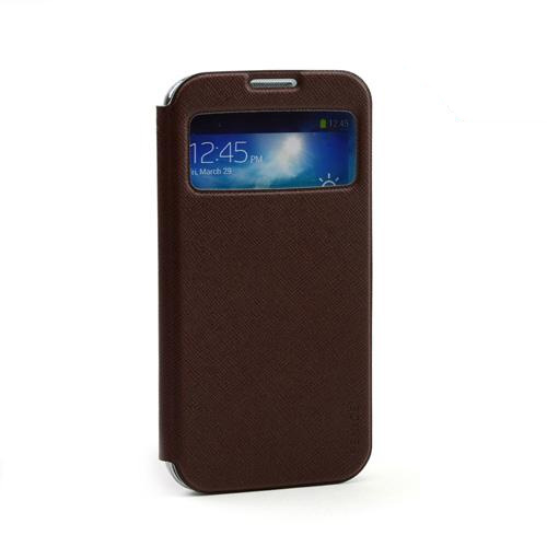 Fenice Brown Piatto View Series Premium Italian PU Leather Flip Diary Case w/ Magic Tape & Card Pocket for Samsung Galaxy S4