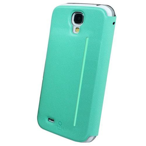 Fenice Mint Piatto View Series Premium Italian PU Leather Flip Diary Case w/ Magic Tape & Card Pocket for Samsung Galaxy S4