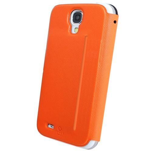 Fenice Orange Piatto View Series Premium Italian PU Leather Flip Diary Case w/ Magic Tape & Card Pocket for Samsung Galaxy S4