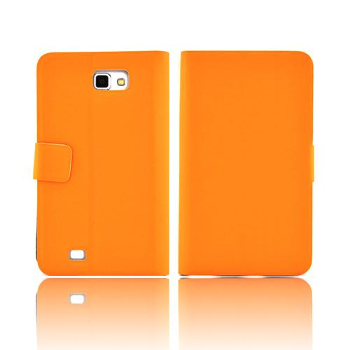 Luxmo Samsung Galaxy Note Impact Resistant Leather Case Stand - Orange
