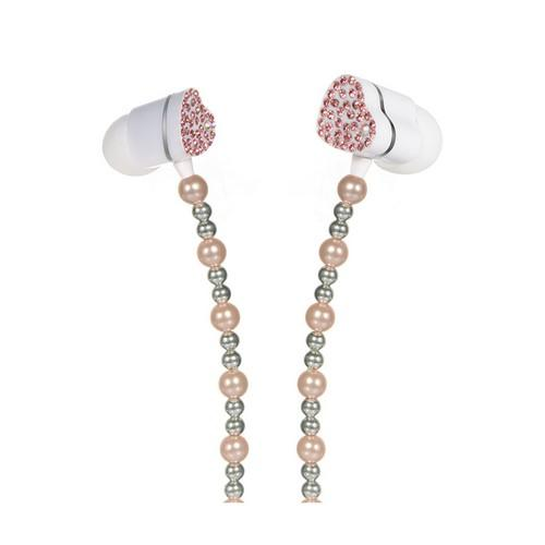 Baby Pink Pearl Necklace Style 3.5mm Stereo Earbuds w/ Pink Gems & Remote