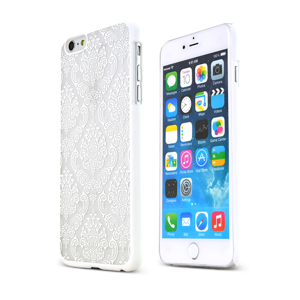 Made for Apple iPhone 6 PLUS/6S PLUS (5.5 inch) White Lace Design Rubberized Hard Case Cover, Unique Design AND Protection!! by Redshield