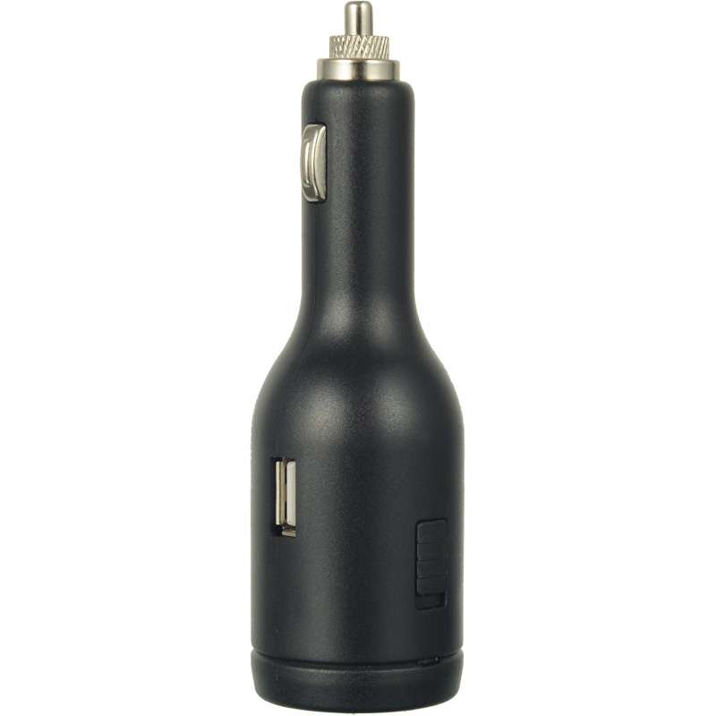 Black Car Charger Dual USB w/ Flashlight