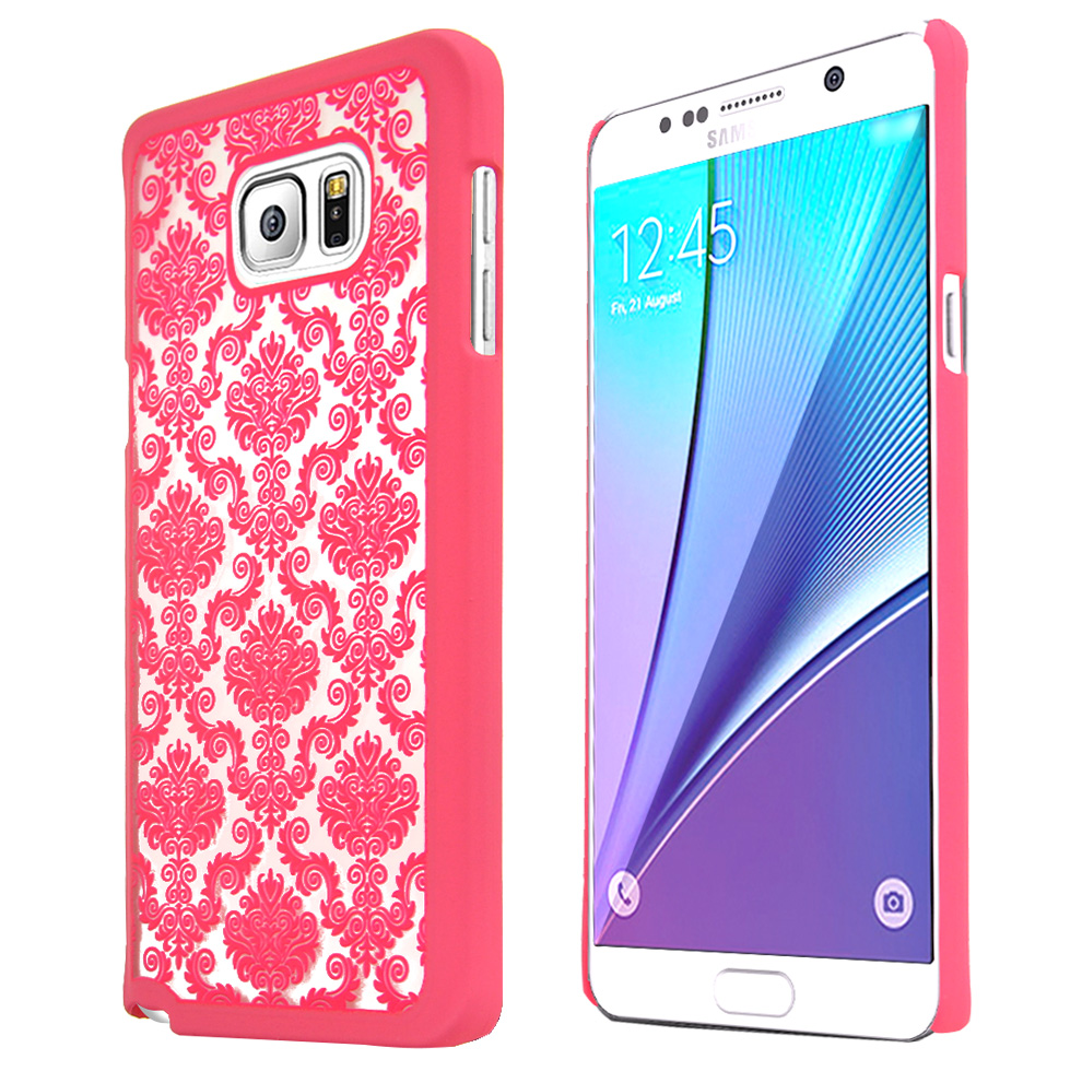 Samsung Galaxy Note 5, [Pink Lace]  Slim & Protective Rubberized Matte Finish Snap-on Hard Polycarbonate Plastic Case Cover