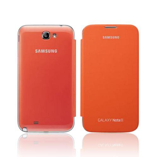 Samsung Orange Protective Flip Cover Hard Case for Galaxy Note 2