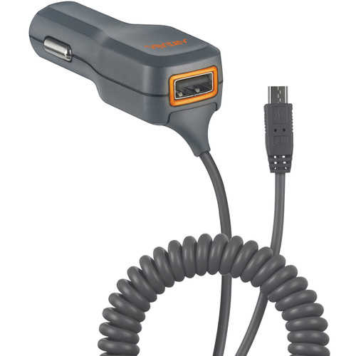 Ventev Black/ Orange Micro USB Car Charger (1A) w/ USB Port (1A) - Charge 2 Phones at Once!