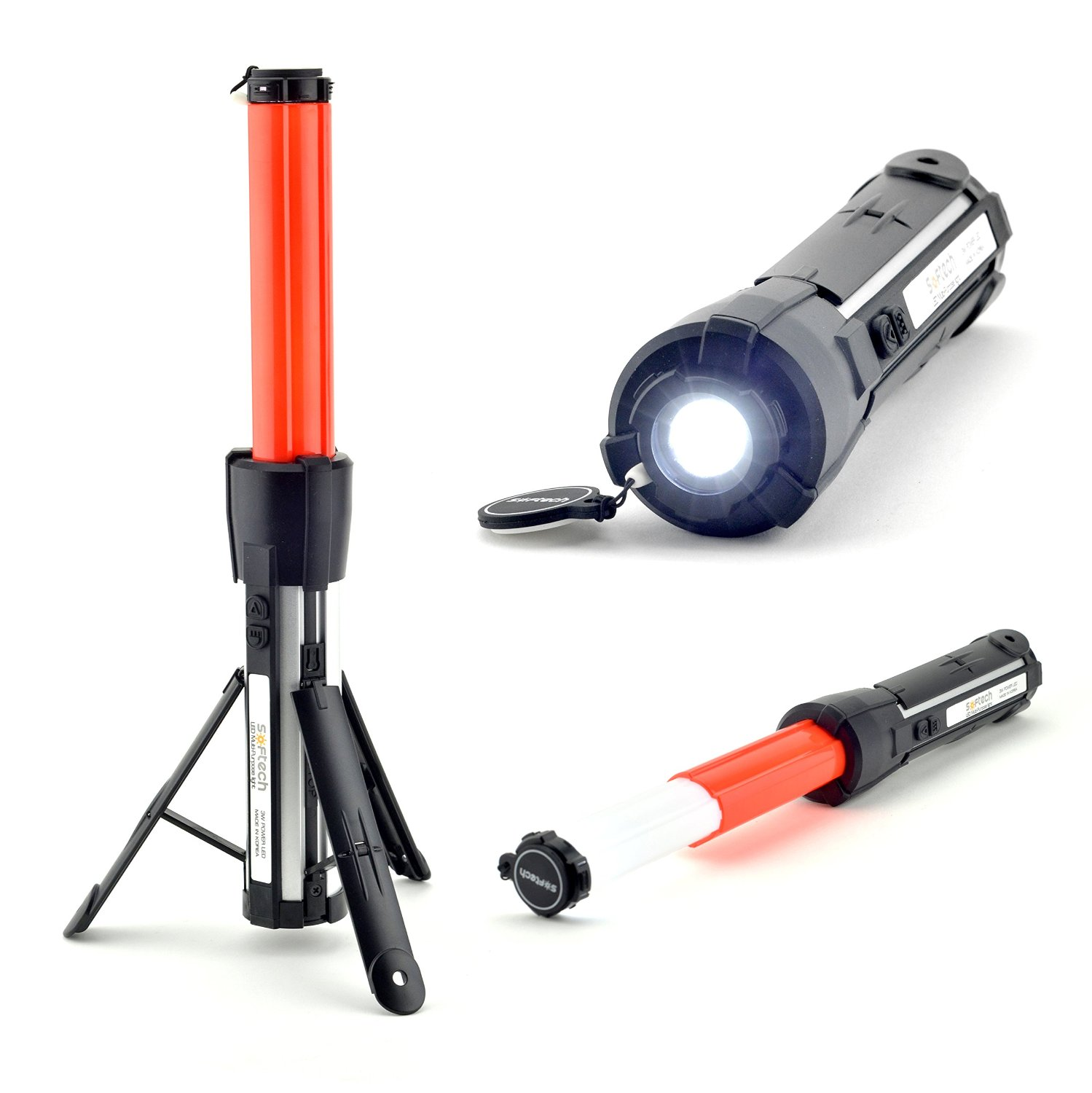 Softech All-in-One LED Flashlight and Safety Beacon / Baton - Emergency Hazard Lights, Lantern, Strobe, Flare & Torch for Cars, Camping, Homes & More!