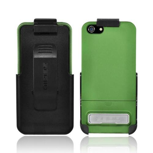 OEM Seidio Surface Combo Apple iPhone 5/5S Rubberized Hard Case w/ Kickstand & Holster - Sage Green/ Black