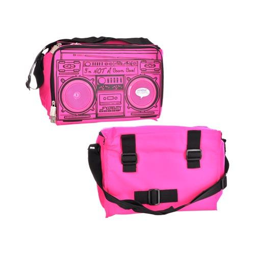 Original Fydelity Le Boom Box Coolio Cooler Bag w/ Built-In Amplifier & Speakers (3.5mm), 91256 - Hot Neon Pink