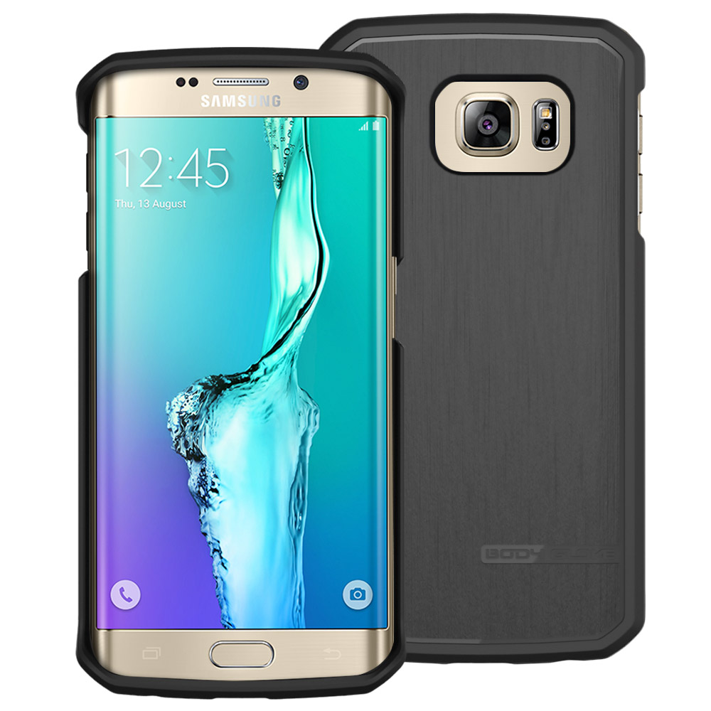 Samsung Galaxy S6 Edge Plus, Body Glove [Black]  Slim & Protective Satin Durable Brushed Aluminum Crystal Silicone TPU Case