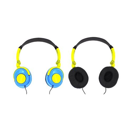 Original Xtreme Foldable DJ Headphones w/ Ear Cushions (3.5mm), 99203 - Sky Blue/ Yellow