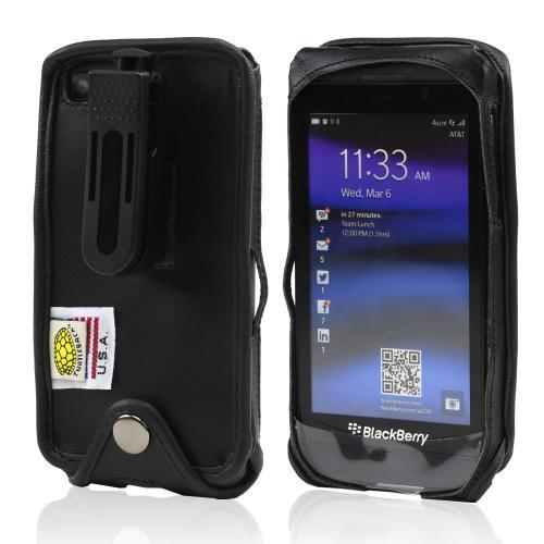 Black Turtleback Genuine Leather Pouch w/ Plastic Swivel Belt Clip for Blackberry Z10