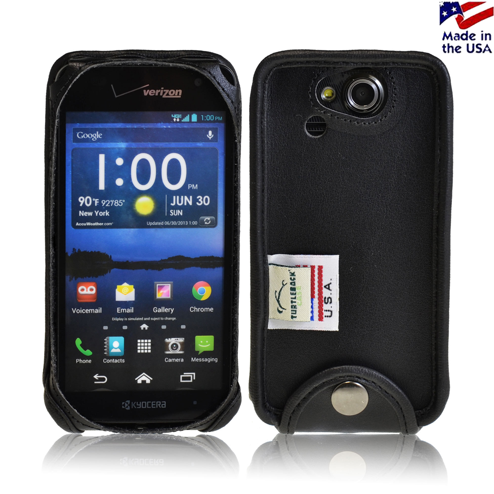 Black Turtleback Genuine Leather Pouch for Kyocera Hydro ELITE