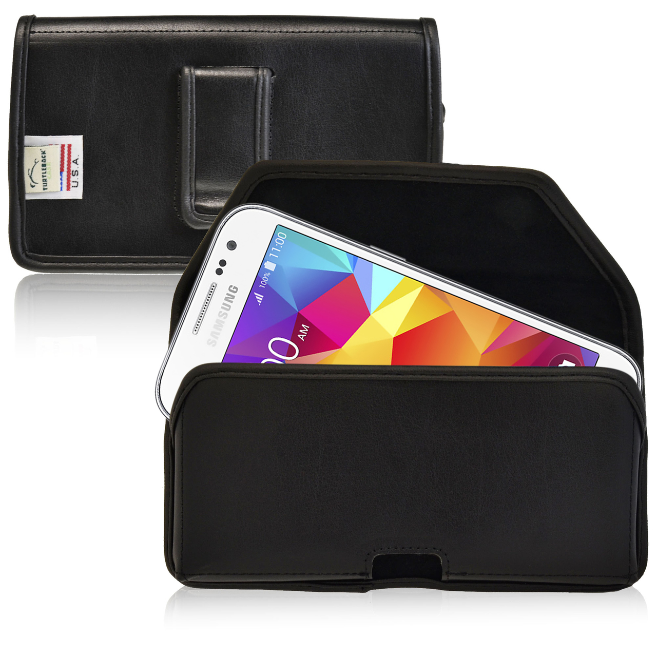 Samsung Galaxy Core Prime Pouch, Turtleback [Black] Horizontal Real Leather Holster Pouch Case w/ Black Leather Belt Clip - Made in the USA!