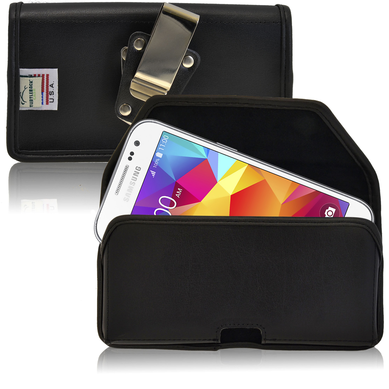 Samsung Galaxy Core Prime Pouch, Turtleback [Black] Horizontal Real Leather Holster Pouch Case w/ Rotating Metal Belt Clip - Made in the USA!