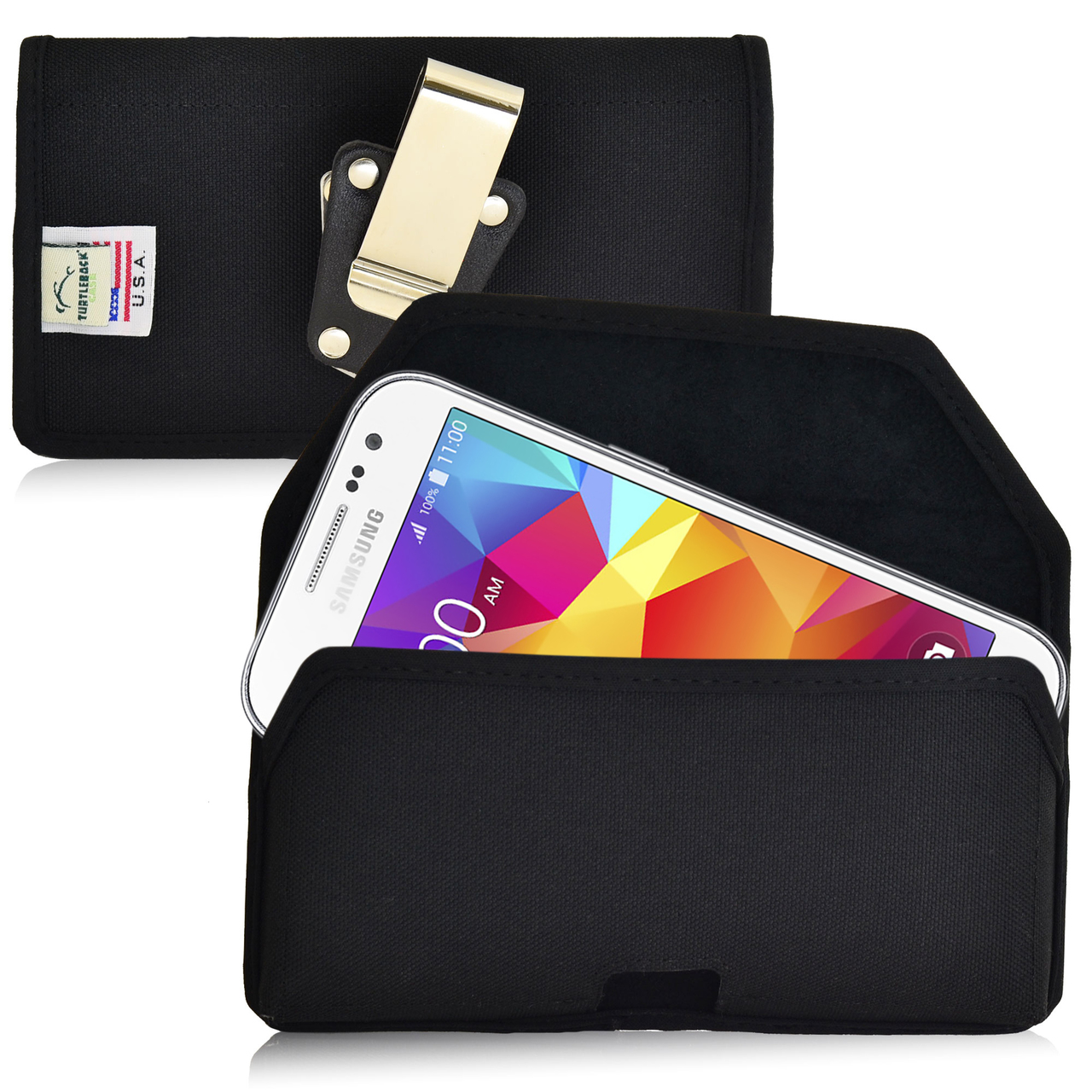 Samsung Galaxy Core Prime Pouch, Turtleback [Black] Horizontal Nylon Holster Pouch Case w/ Rotating Metal Belt Clip - Made in the USA!