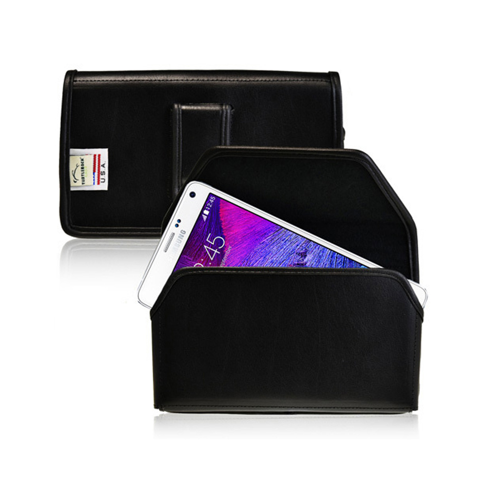 Samsung Galaxy Note 4 Case,  [Genuine Leather]  Metal Clip with Metal Clip & Magnetic Closure Holster 2XL Pouch