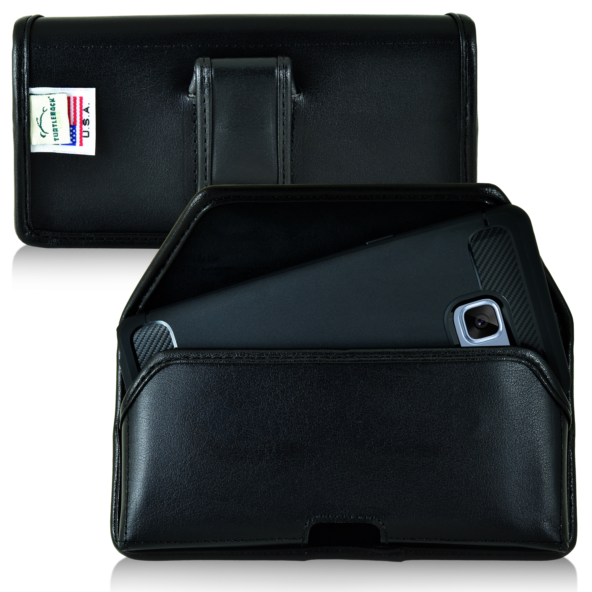 Samsung Galaxy Note 7 Pouch, [Black] Horizontal Holster, Real Leather Pouch w/ Executive Belt Clip, Fits with Slim Case