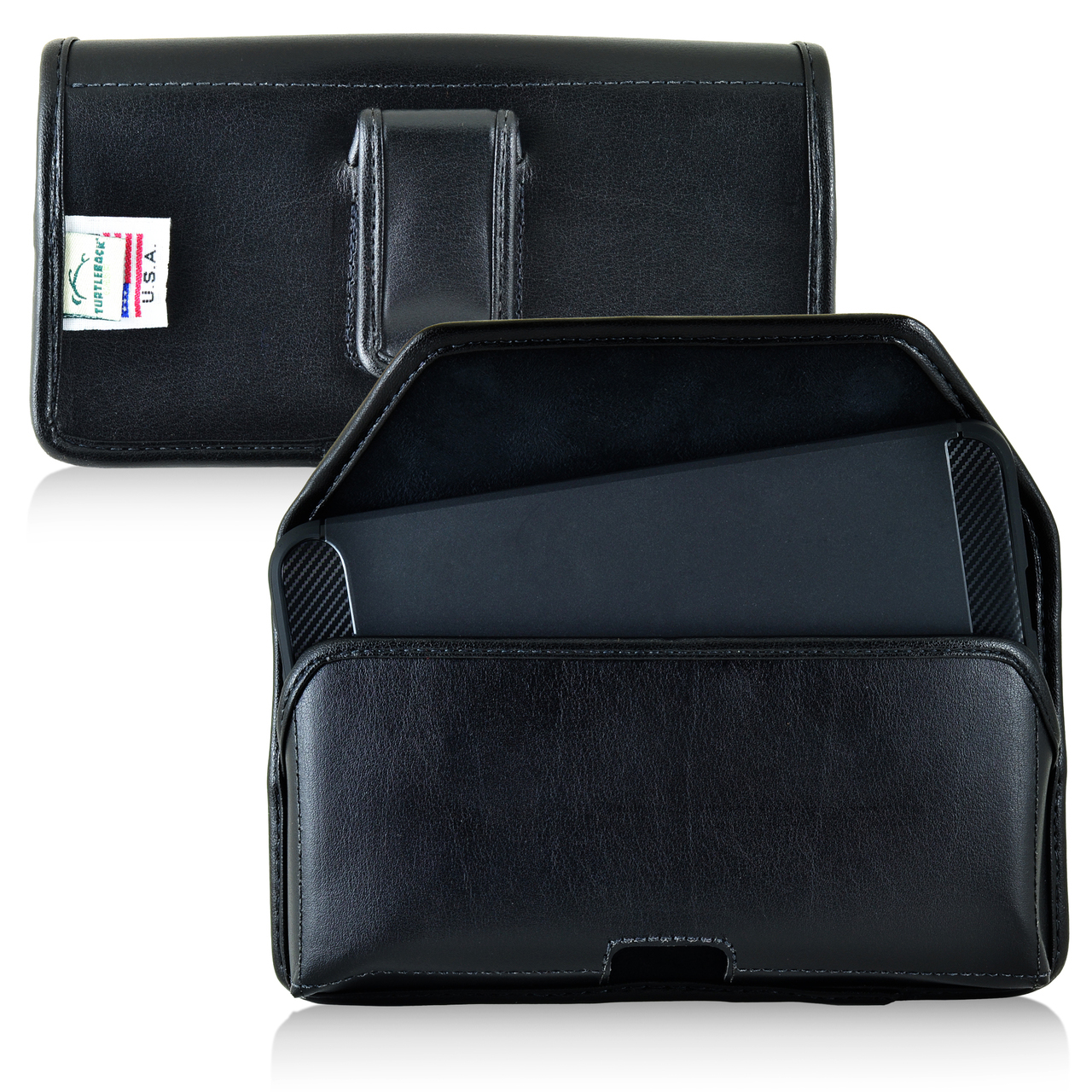 Huawei Google Nexus 6P Pouch, Turtleback [Black] Horizontal Real Leather Holster Pouch Case w/  Black Leather Belt Clip - Made in the USA!