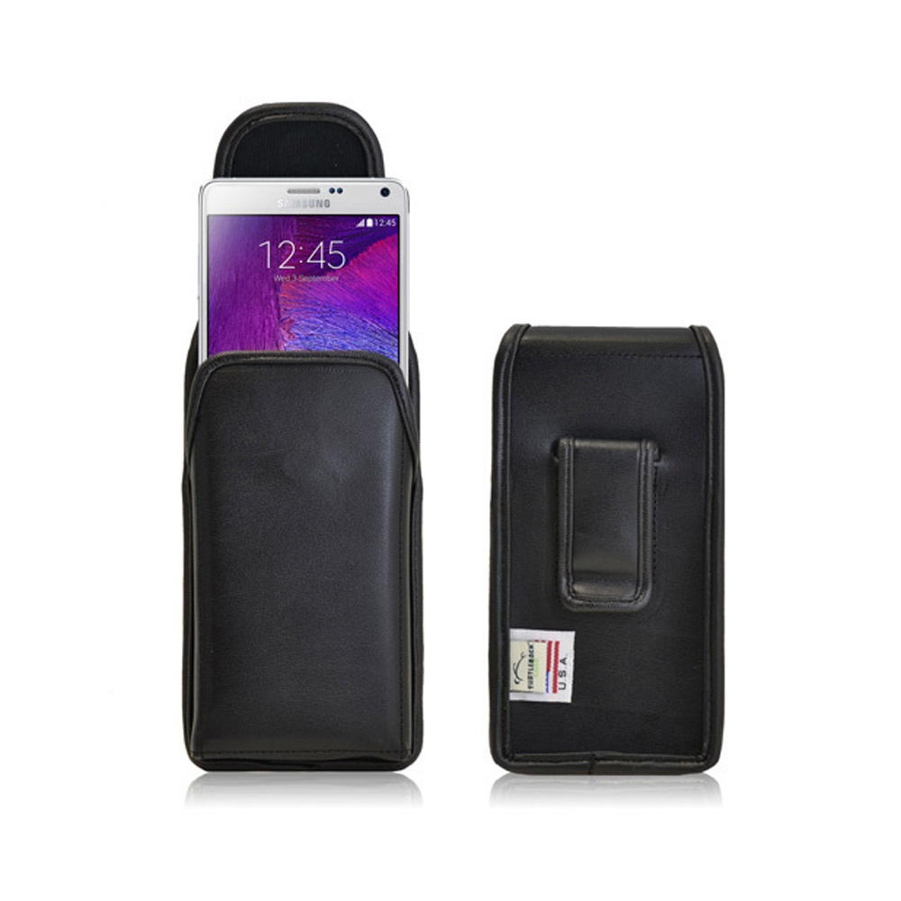 Samsung Galaxy Note 4 Case,  [Genuine Leather]  Vertical Holster with Clip and Magnetic Closure 3XL Pouch