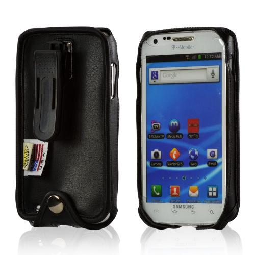 Black Turtleback Genuine Leather Pouch w/ Plastic Swivel Belt Clip for Samsung Epic 4G Touch