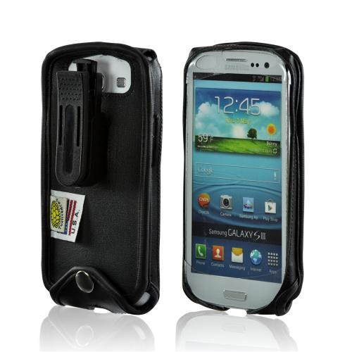Turtleback Black Leather Pouch w/ Plastic Swivel Belt Clip for Samsung Galaxy S3