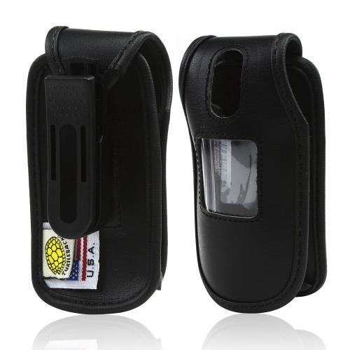 Black Turtleback Genuine Leather Pouch w/ Plastic Swivel Belt Clip for Samsung Crono 2 R270