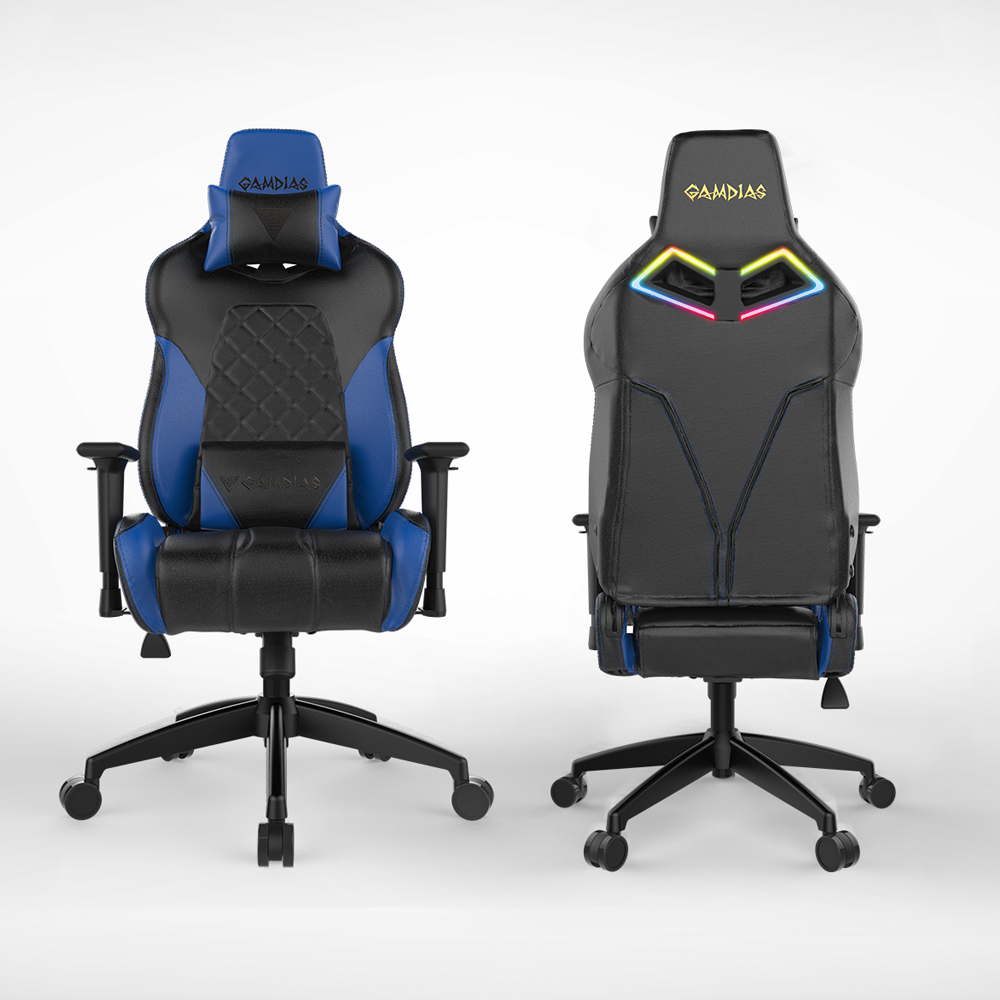 [Gamdias] Achilles E1-L Multifunction PC Gaming Chair w/ RGB Customizable Streaming Lighting [Black/ Blue]