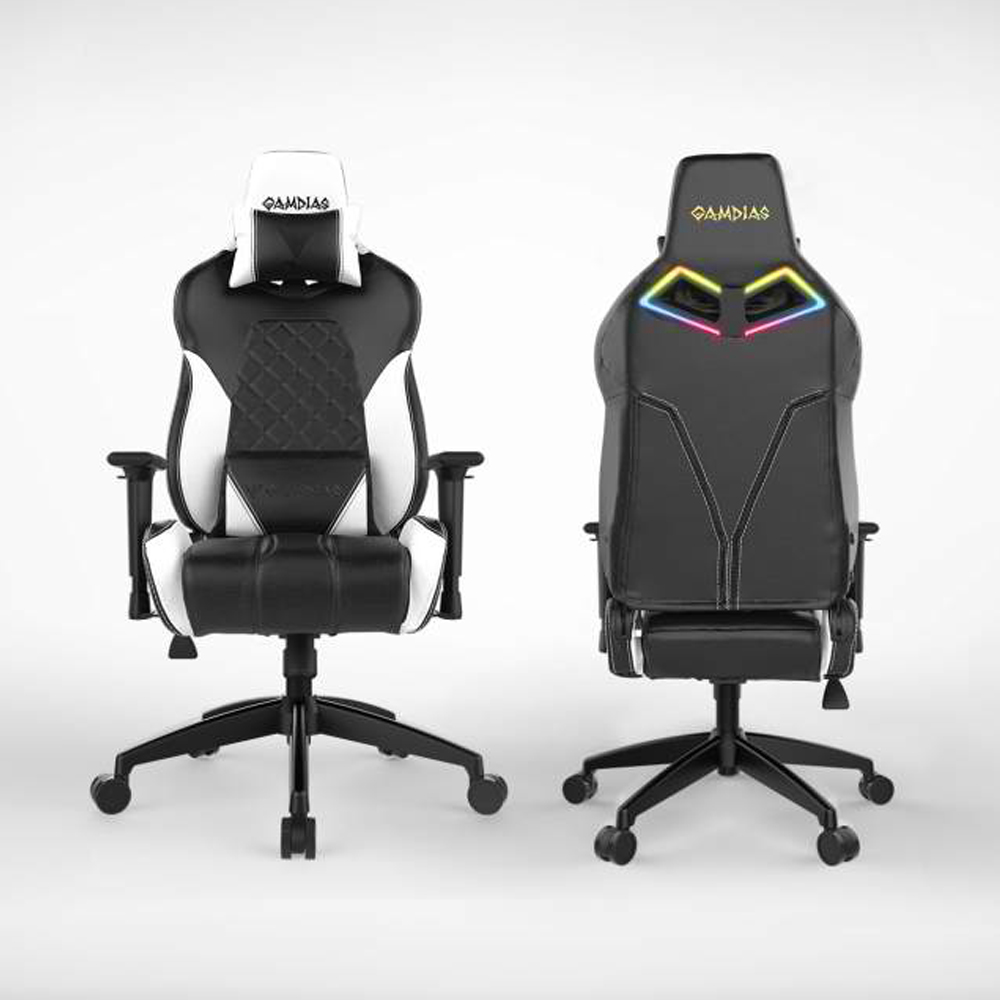 [Gamdias] Achilles E1-L Multifunction PC Gaming Chair w/ RGB Customizable Streaming Lighting [Black/ White]