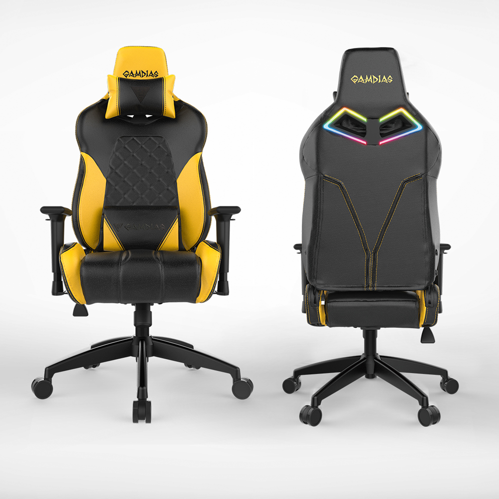 [Gamdias] Achilles E1-L Multifunction PC Gaming Chair w/ RGB Customizable Streaming Lighting [Black/ Yellow]