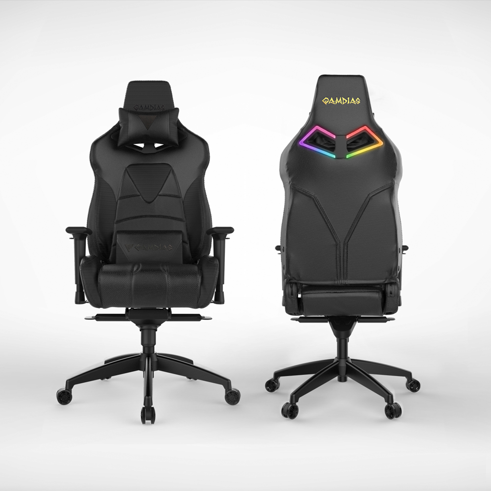 [Gamdias] Achilles M1-L Multifunction PC Gaming Chair w/ RGB Customizable Streaming Lighting [Black]