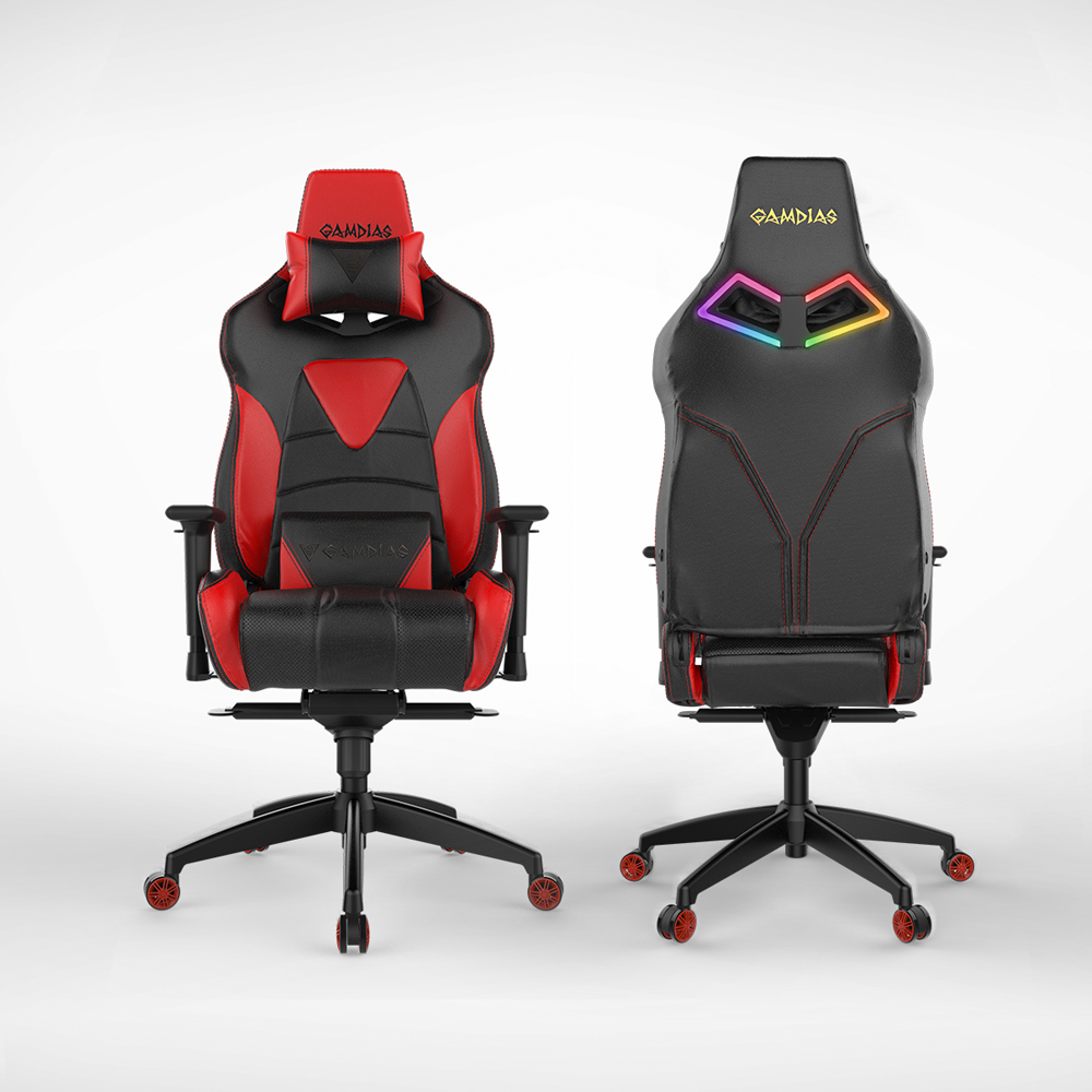 [Gamdias] Achilles M1-L Multifunction PC Gaming Chair w/ RGB Customizable Streaming Lighting [Black/ Red]